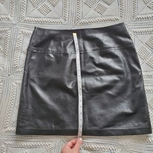 Vintage Genuine Leather Caché Black Mini Skirt 8